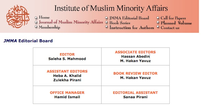 Huma's mother, Saleha, and sublings, Hassan and Heba, are all identified in this editorial board chart from the IMMA website.