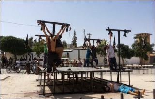 Eight Christians crucified by ISIS in Syria.