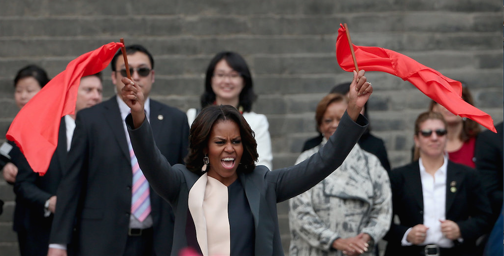 Michelle Obama rockin' it for China's Communists, though she's never been proud of her own country.